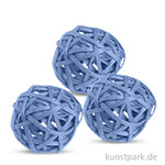 Deko-Kugeln aus Rattan, 6 cm 3 Stk | Blau