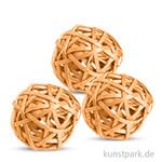 Deko-Kugeln aus Rattan, 6 cm 3 Stk | Gelb
