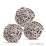 Deko-Kugeln aus Rattan, 6 cm 3 Stk | Grau