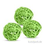 Deko-Kugeln aus Rattan, 6 cm 3 Stk | Grün