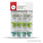Deko-Sticker - Papier-Schmetterlinge - Immergrün, 6 Stück sortiert