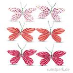 Deko-Sticker - Papier-Schmetterlinge - Koralle, 6 Stück sortiert