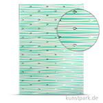 Designkarton Aqua - Türkis-Weiß, DIN A4, 200 g