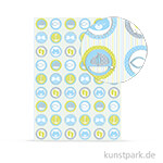 Designkarton Meine Taufe - Jungen Symbole, DIN A4, 200 g