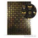 Designkarton Skull - Gold, DIN A4, 200g