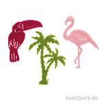 Filzstreuteile, Flamingos, Palmen und Vögel 12Stück 4x6cm