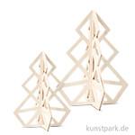 Geometrischer 3D-Weihnachtsbaum aus hellem Holz
