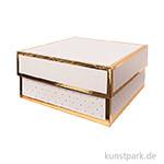 Geschenkschachtel Eckig - Rosa & Gold 15 x 15 x 8 cm