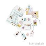 Geschenkverpackungsset - Lama, mit Tags, Stickern und Minikuverts, 12 Bogen sortiert