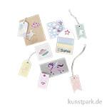 Geschenkverpackungsset - Unicorn, mit Tags, Stickern und Minikuverts, 12 Bogen sortiert