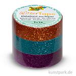Glitzer-Tape - Kupfer-Türkis-Violett, 3er-Set, 15 mm, 5 m