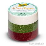 Glitzer-Tape - Weiß-Grün-Rot, 3er-Set, 15 mm, 5 m