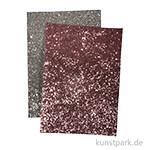 Glitzerstoff - Silber & Rosé, 2 Stück 14,8 x 21 cm