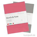 Hahnemühle SKETCH & NOTE, 20 Blatt, 125g, 2 Booklets, Grey-Pink