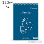 Hahnemühle Skizzenblock SKIZZE 120, 50 Blatt, Spiral DIN A4