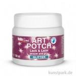 Hobby Line ART POTCH Lack + Leim - Glitter, 150 ml Glitter Silber