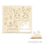 Holz-Steckteile Hühner und Blumen, verschiedene Motive sortiert
