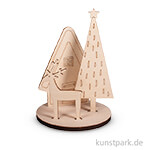 Holz-Steckteile - Winterhome, 10x10x14,5 cm, 4-teilig