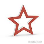 Holz-Stern, 20x19x2,5 cm - rot-weiß
