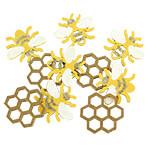 Holz-Streuteile - Biene mit Klebepunkt, 2,9x2,5 cm, 10 Stück sortiert