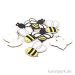 Holz-Streuteile Bienen, Größe 3,7 x 4,2 cm, 8 Stück sortiert