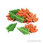 Holz-Streuteile Blätter, 2 Designs, 12 Stück sortiert