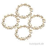 Holz Streuteile - Blätterkranz, Durchmesser 5,5 cm, 4 Stück