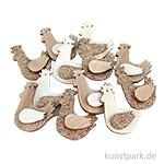 Holz Streuteile - Henne mit Klebepunkt, 3x4 cm,12 Stück sortiert