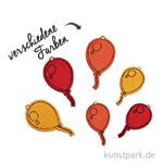 Holz-Streuteile Luftballons, 1,5 - 1,8 cm, 18 Stück sortiert