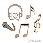 Holz-Streuteile Musik, 1,4 - 3 cm, 12 Stück sortiert