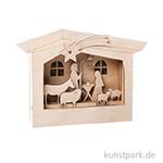 Holzbausatz 3D-Motivrahmen - Krippe, 24 x 24 x 6,3 cm, 13-teilig