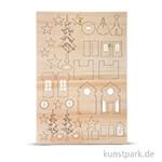 Holzbausatz - Weihnachtskirche, 37 Teile sortiert