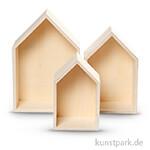 Holzkästen in Hausform, 3 Stück sortiert