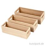 Holzkasten mit Griff - 3 Stück sortiert