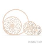 Holzscheibe Dream mit 18 cm Ring - filigran, 7 - 13 cm, 4 Stück