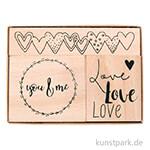 Holzstempelset - Liebe, 3,2x3,8 cm - 8,1x1,6 cm, 3 Stück