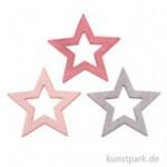 Holzsterne Silhouette - Rosa-Pink-Grau, 3x3x0,2 cm, Stück sortiert