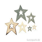 Holzstreuteile - Sterne, 2x6 cm - 5x2 cm, sortiert