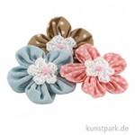 Hotex Blumen - Textil-Streuteile mit Klebepunkt, 4,5 cm, 3 Stück