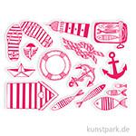 IZINK Pigment Textil Stempel & Farbe, 15+1 Set - Navy
