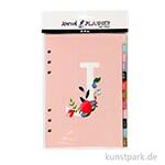 Kalendereinlagen für Kreativbücher - Blumendesign Lila-Gold-Rosa, 12 Seiten