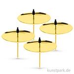 Kerzenhalter aus Metall - Goldfarben, 4 Stück