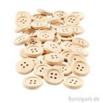 Knöpfe aus unlackiertem Holz, 4 Loch 18 mm - 40 Stück