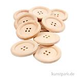 Knöpfe aus unlackiertem Holz, 4 Loch 35 mm - 10 Stück