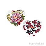 Knöpfe - Herz mit Blumen