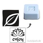 Seifenstempel - enjoy + Blatt - 25x25 mm, 2 Stück