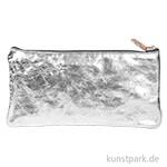 Leder-Etui Metallic - Flach, Silber