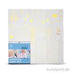 Malblock für Aquarellfarbe aus bedrucktem Papier, Größe 30,5x30,5 cm, 12 Blatt