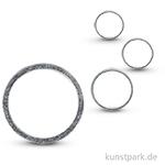 Metall-Schmuckring flach, silber, 4 Stück sortiert 20 - 50 mm