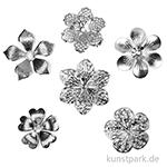 Metallcharms Vintage - Blüte, 6 Stück sortiert